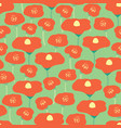seamless pattern red poppies flower field vector image vector image