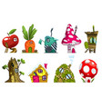set different fairytale houses fantasy houses vector image vector image
