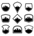 set empty badges with mountains design vector image vector image