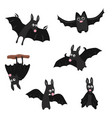 set of cartoon bats set of cartoon bats vector image vector image