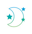 silhouette cute moon with stars in the night space vector image