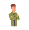skeptical young man male character facial vector image vector image