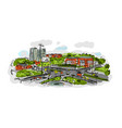 sketch of traffic road in city for your design vector image vector image