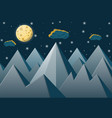 space landscape with mountains and full moon vector image