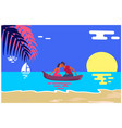 summer love banner with kissing couple in boat vector image vector image