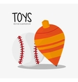 Top and baseball toy and game design vector image vector image