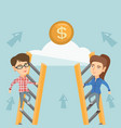 two young business woman competing for money vector image vector image
