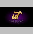 ut u t 3d gold golden alphabet letter metal logo vector image vector image