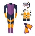 wetsuit with mask and scuba diving vector image vector image