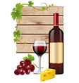 Wine grapes and cheese vector image vector image