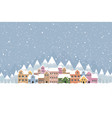 winter town flat style with snow falling and vector image vector image