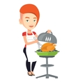Woman cooking chicken on barbecue grill vector image vector image