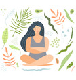 yoga and relaxation woman sitting with floral vector image