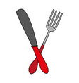 fork and knife utensil kitchen vector image