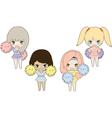four girls cheerleader vector image