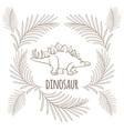 dinosaur with sharp thorns on back and palm vector image