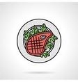 Steak flat color icon vector image