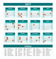 2017 Calendar - blue template of 2017 calendar vector image vector image