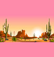 blooming cacti mexican desert vector image vector image