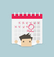 businessman with calendar over his back vector image vector image