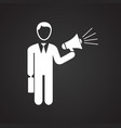 businessman with megaphone on black background vector image