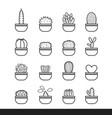 cactus line black icon set vector image
