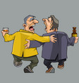 cartoon two drunk men friends walking and singing vector image vector image