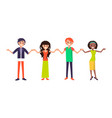 cheerful people with wide open arms greet everyone vector image