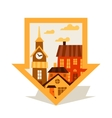 Cityscape navigation marker with cute colorful vector image