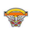 crew chief crossed spanner army wings banner icon vector image