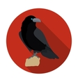 Crow of viking god icon in flat style isolated on vector image
