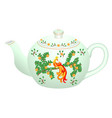 decorative porcelain teapot for tea set vector image