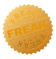 gold freak medal stamp vector image vector image