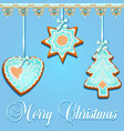 greeting card with gingerbread cookies for vector image
