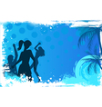 Grunge background with dancing people vector image