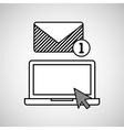 hand draw laptop email social network media vector image vector image