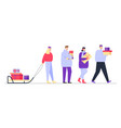 happy people carry gift boxes in hands and on sled vector image