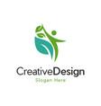 human leaf naturally creative business logo vector image vector image
