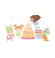 Kids celebrating Birthday with gifts and cake vector image