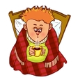 Little freezing man drinks hot drink in bed vector image vector image