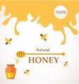 Natural honey Honey streams jar and bees isolated vector image vector image