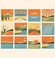 nature landscape icons set symbols vector image
