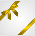 realistic golden bow with gold yellow ribbons vector image
