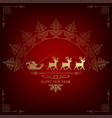 red design with santa claus on deer vector image vector image