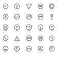 road sign line icons with reflect on white vector image vector image