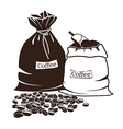 Sacks with coffee and coffee beans vector image