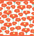 seamless background poppy flower field vector image vector image