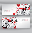 set of casino banners with dices and abstract ink vector image vector image