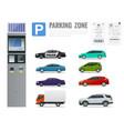 set of parking payment machine parking receipt vector image