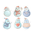 snowman set for winter and christmas hand drawn vector image vector image